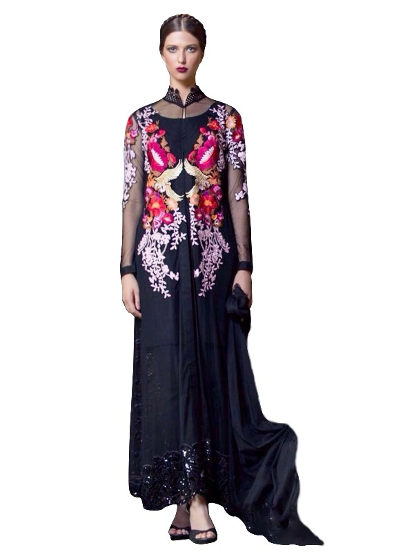 Faux Georgette Black Anarkali Suit  - EBSFSKRB334061