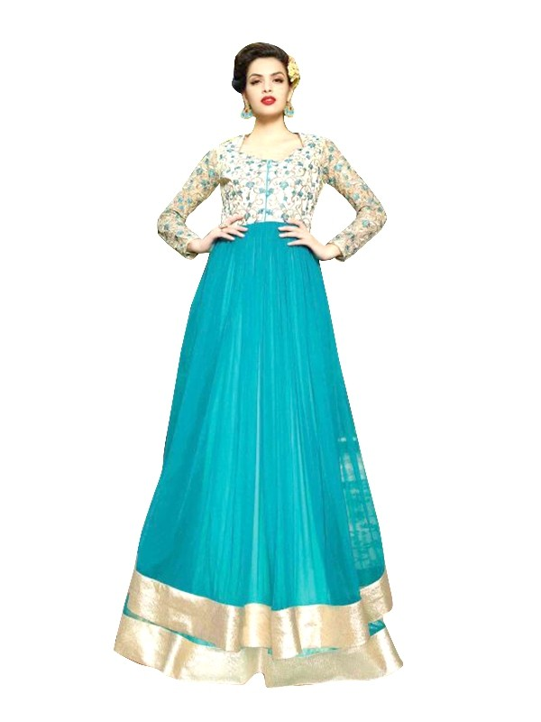 Georgette Net Blue Anarkali Suit  - EBSFSKRB334011