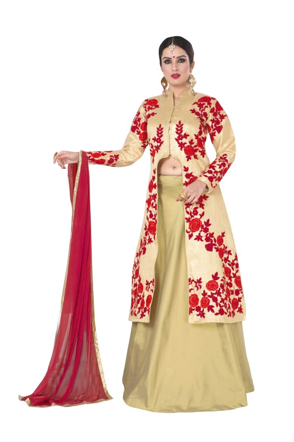 Party Wear Brocade Beige Lehenga Suit - EBSFSKDF334085