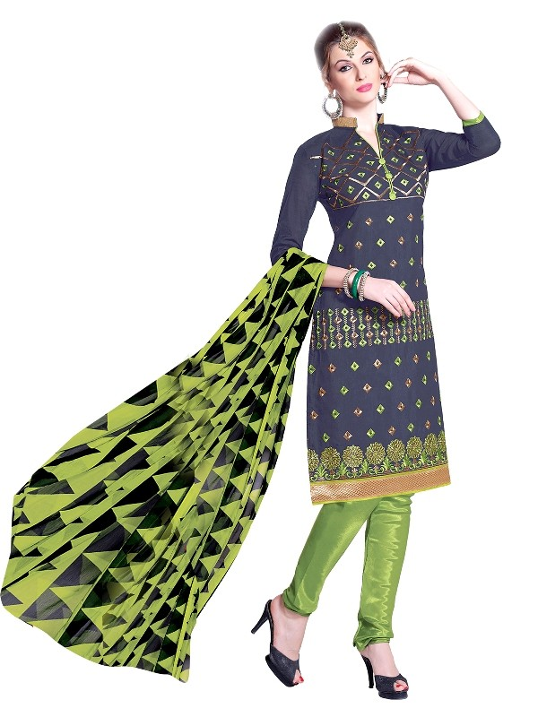 Party Wear Chanderi Blue Churidar Suit - EBSFSKRB334003