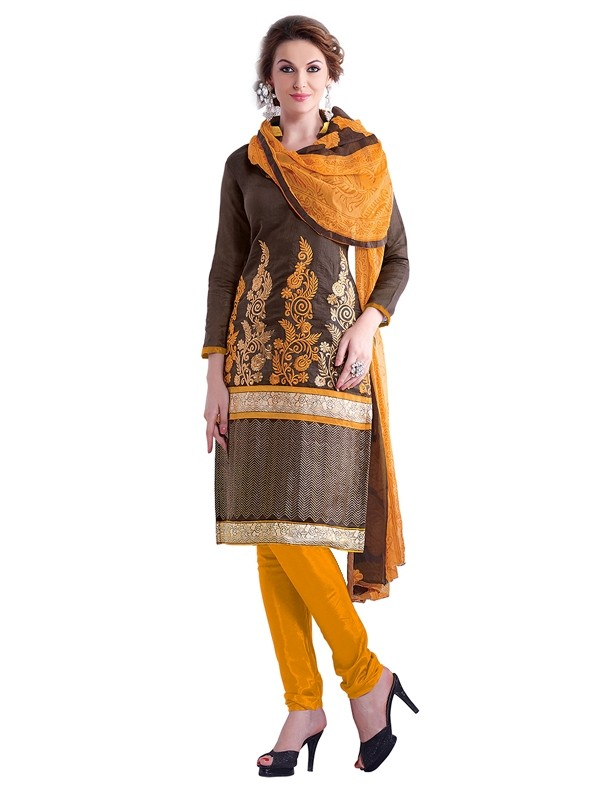 Party Wear Chanderi Brown Churidar Suit - EBSFSKRB334002