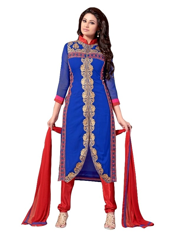 Party Wear Georgette Blue Churidar Suit - EBSFSKRB334024