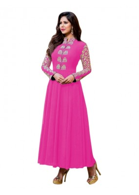 Party Wear Georgette Pink Anarkali Suit  - EBSFSKRB334005A