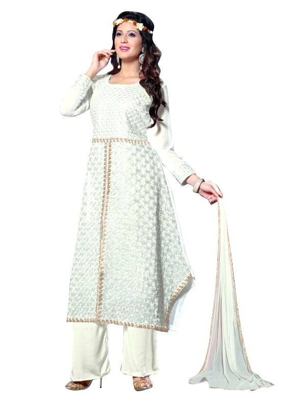 Party Wear Georgette White Churidar Suit - EBSFSKRB334015