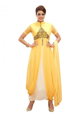 Party Wear Georgette Yellow Churidar Suit - EBSFSKRB334019