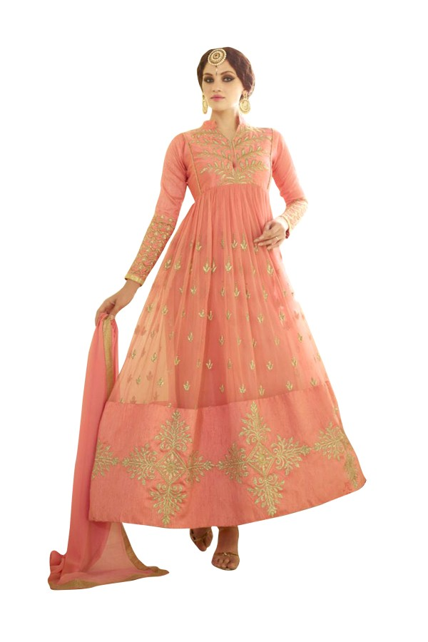 Peach Georgette Net Anarkali Suit  - EBSFSKAH334084