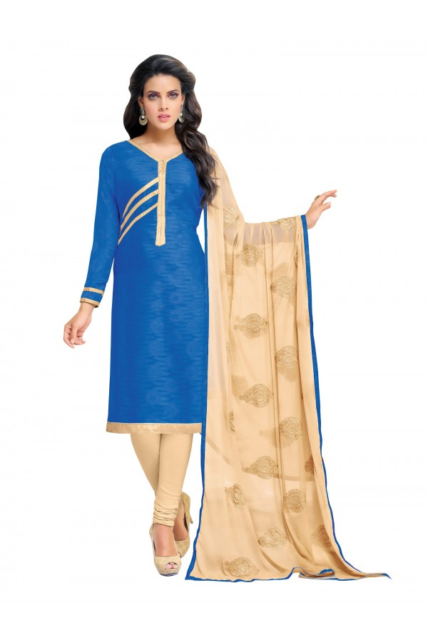 Casual Wear Embroidered Chanderi Blue Unstitched Salwar Suit - EBSFSK342014 ( EBSFSK34 )