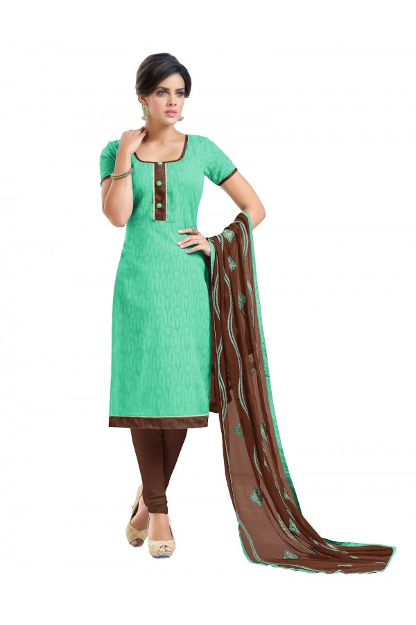 Casual Wear Embroidered Chanderi Green Unstitched Salwar Suit - EBSFSK342002 ( EBSFSK34 )