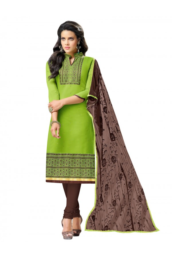 Casual Wear Embroidered Chanderi Green Unstitched Salwar Suit - EBSFSK342015 ( EBSFSK34 )