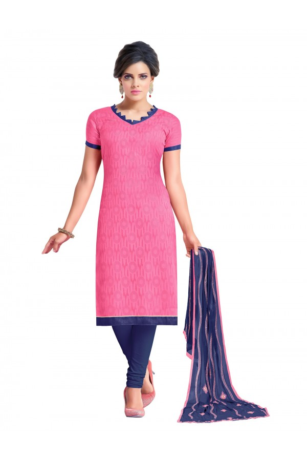 Casual Wear Embroidered Chanderi Pink Unstitched Salwar Suit - EBSFSK342001 ( EBSFSK34 )