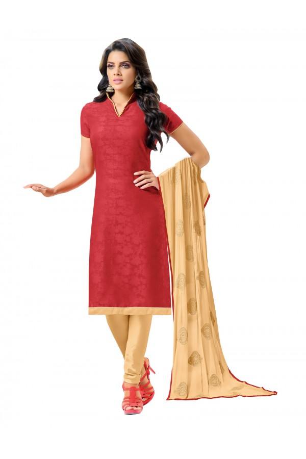 Casual Wear Embroidered Chanderi Red Unstitched Salwar Suit - EBSFSK342013 ( EBSFSK34 )