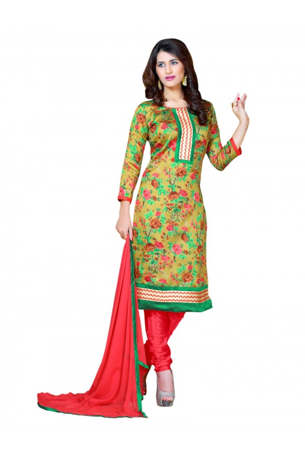Bhagalpuri Print Green Salwar Suit Dress Material  - EBSFSK36RA1001