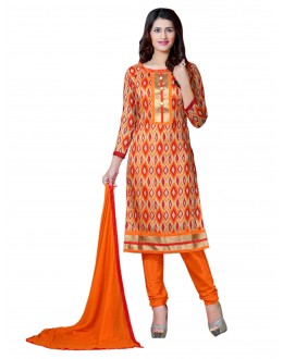 Bhagalpuri Print Orange Salwar Suit Dress Material  - EBSFSK36RA1008