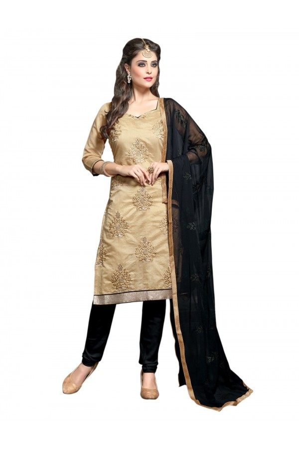 Chanderi Beige Salwar Suit Dress Material  - EBSFSK36RE1002