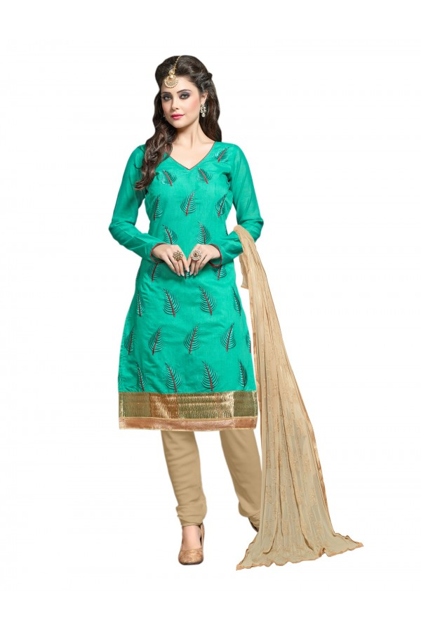 Chanderi Green Salwar Suit Dress Material  - EBSFSK36RE1003