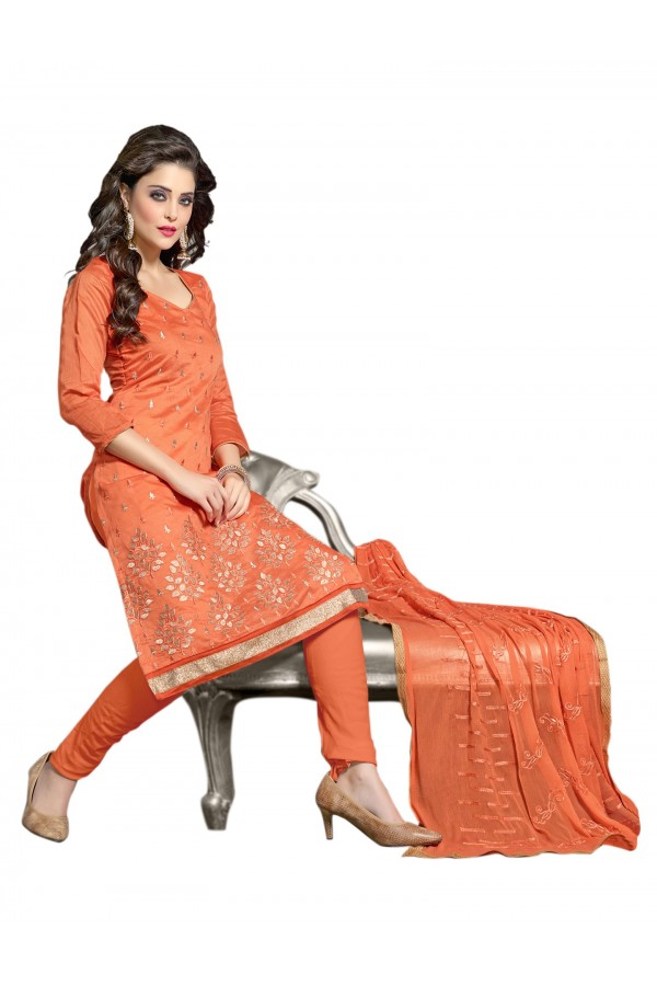 Chanderi Orange Salwar Suit Dress Material  - EBSFSK36RE1009