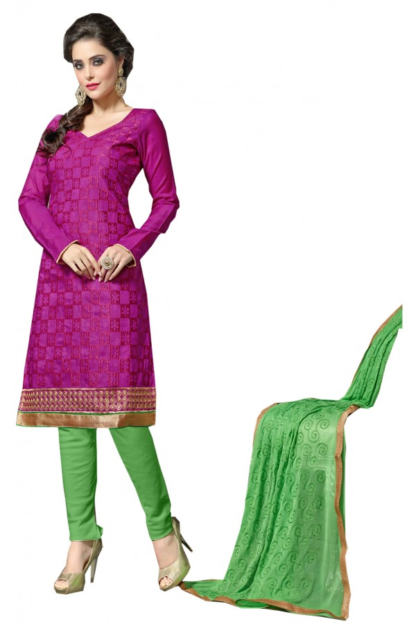 Chanderi Pink Salwar Suit Dress Material  - EBSFSK36RE1004