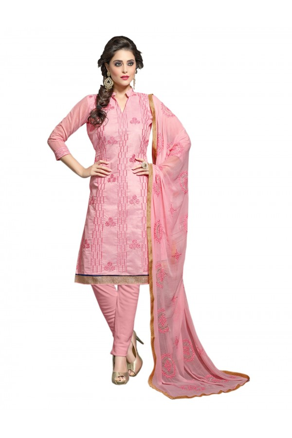 Chanderi Pink Salwar Suit Dress Material  - EBSFSK36RE1012