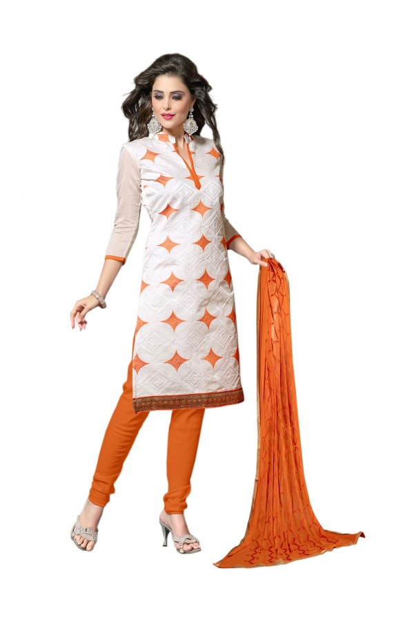 Chanderi White Salwar Suit Dress Material  - EBSFSK36RE1006