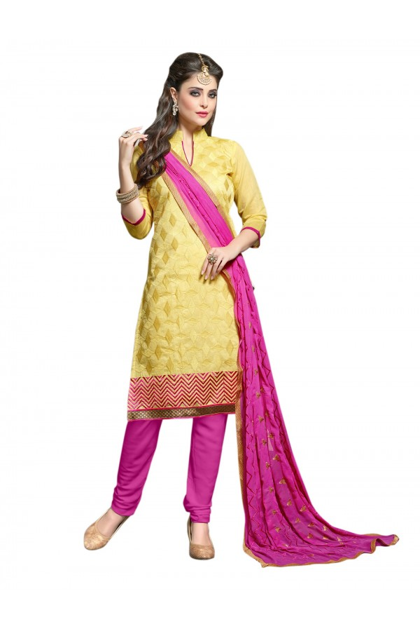 Chanderi Yellow Salwar Suit Dress Material  - EBSFSK36RE1005