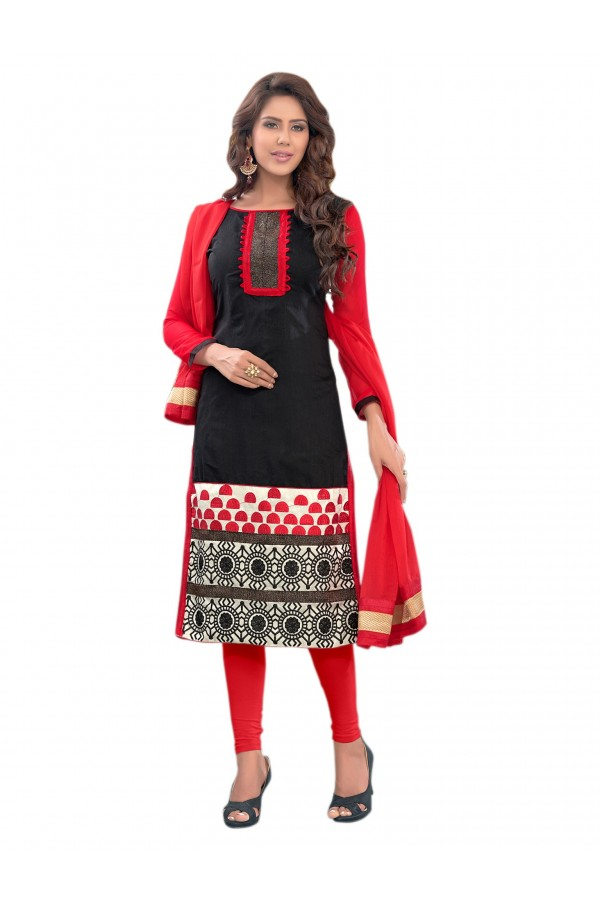 Party Wear Chanderi Black Salwar Suit Dress Material  - EBSFSK36MB1008