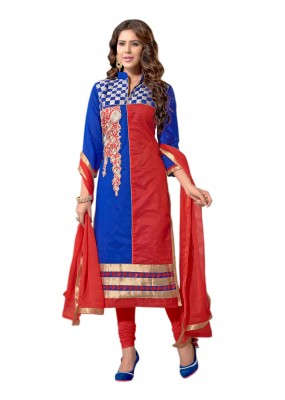 Party Wear Chanderi Blue & Red Salwar Suit Dress Material  - EBSFSK36MB1004