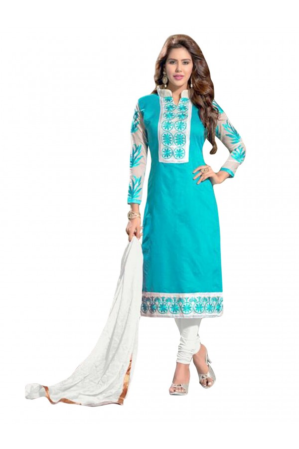 Party Wear Chanderi Blue Salwar Suit Dress Material  - EBSFSK36MB1007