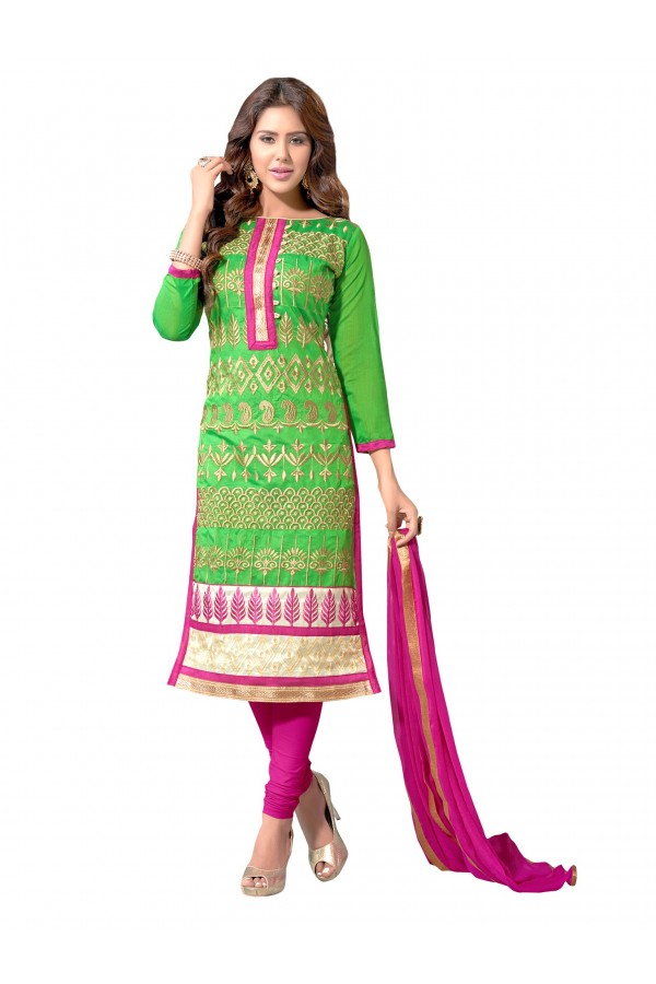 Party Wear Chanderi Green Salwar Suit Dress Material  - EBSFSK36MB1003