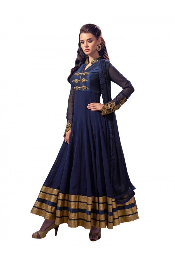 Party Wear Embroidered Georgette Blue Anarkali Salwar Suit - EBSFSKJF376010 ( EBSFSK37 )