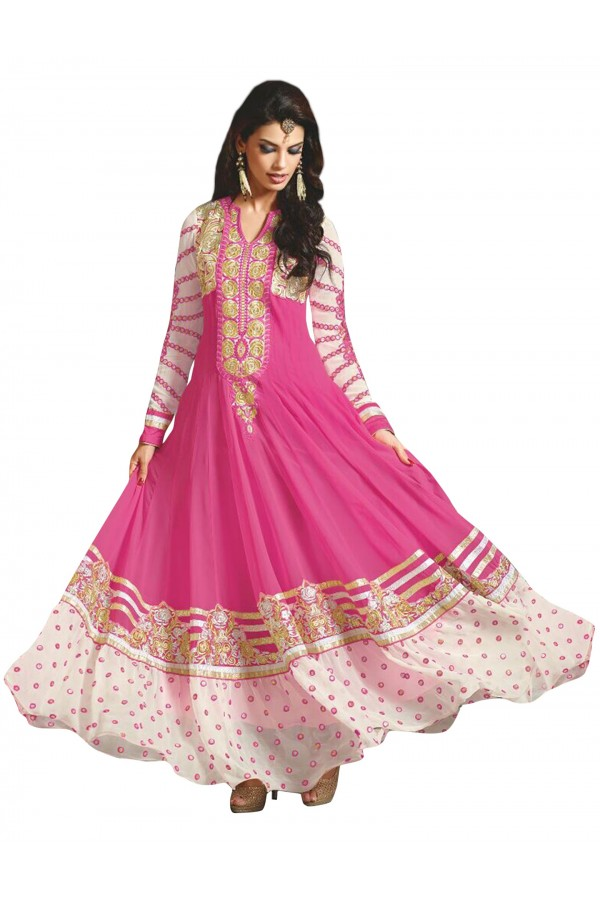 Party  Wear Embroidered Georgette Pink Anarkali Salwar Suit - EBSFSKAH376002C ( EBSFSK37 )