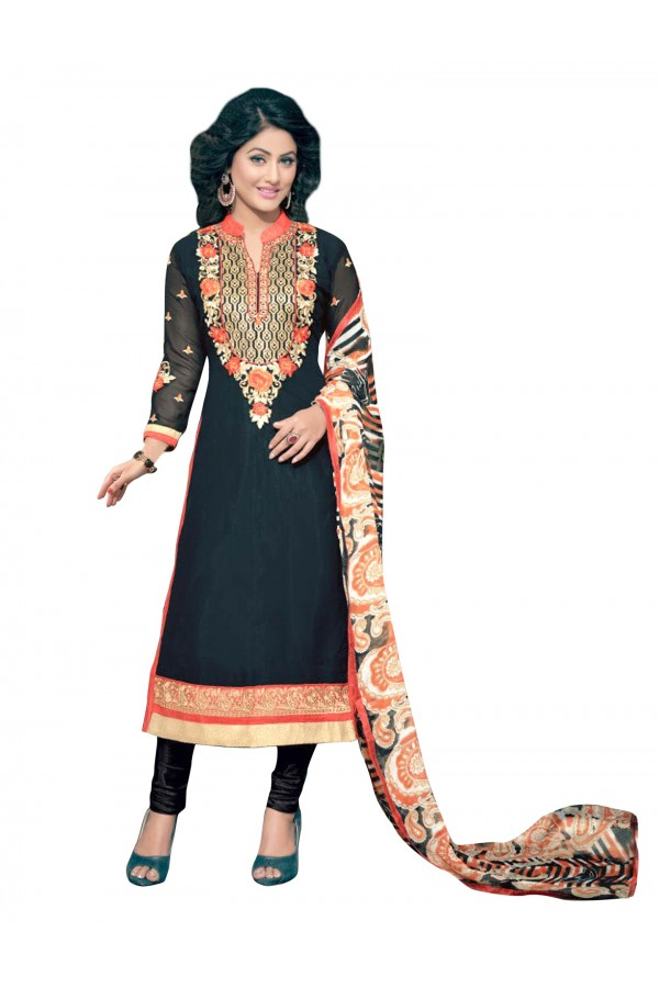 Party Wear Embroidered Georgette Straight Cut Black Salwar Suit - EBSFSKRB376017 ( EBSFSK37 )