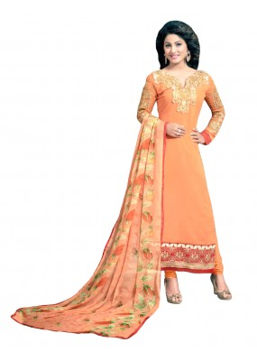 Party Wear Embroidered Georgette Straight Cut Orange Salwar Suit - EBSFSKRB376020 ( EBSFSK37 )