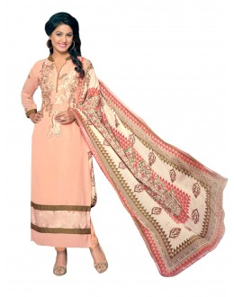 Party Wear Embroidered Georgette Straight Cut Peach Salwar Suit - EBSFSKRB376014 ( EBSFSK37 )