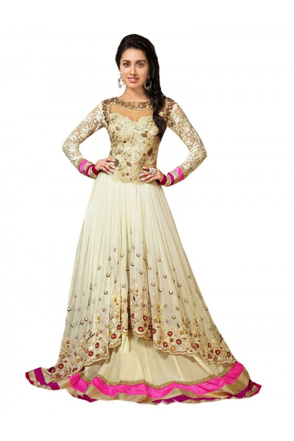 Wedding Wear Embroidered Georgette Cream Anarkali Salwar Suit - EBSFSK376022 ( EBSFSK37 )