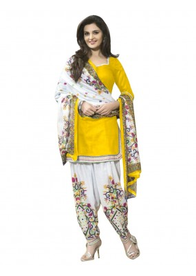 Cotton Yellow Unstitched Patiala Suit - EBSFSK429007B