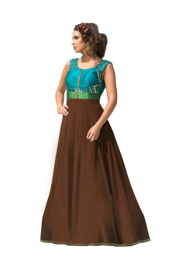 Designer Georgette Brown Anarkali Suit - EBSFSK42JN2704