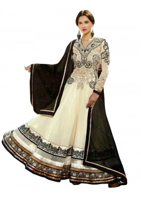 Party Wear Net Off White Anarkali Suit - EBSFSKSJ429013