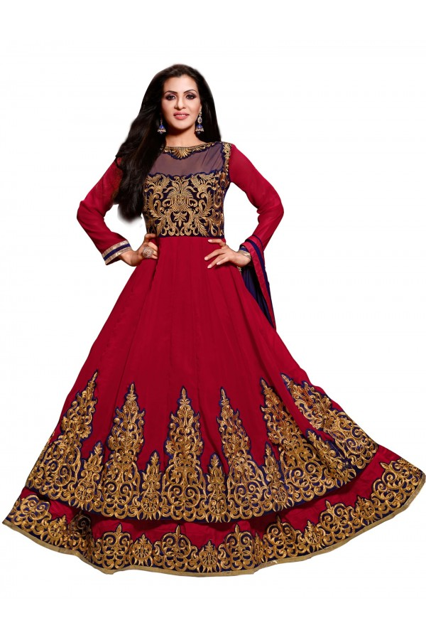 Ethnic Wear Georgette Red Anarkali Suit - EBSFSKDF43702