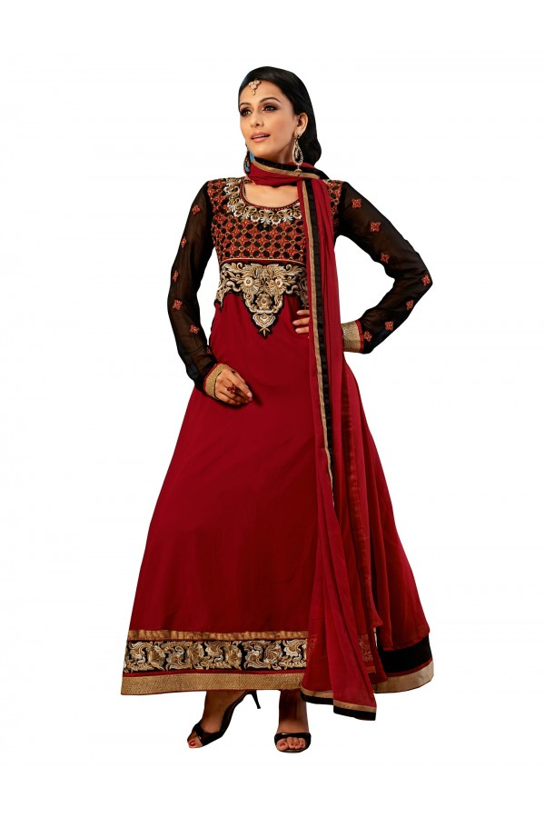 Georgette Red Anarkali Suit - EBSFSKDF43308