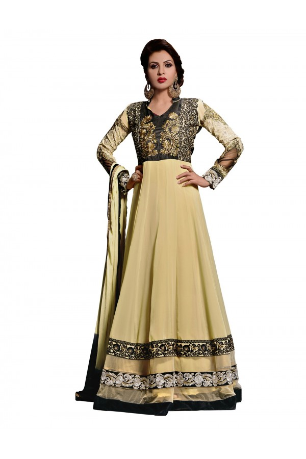 Party Wear Georgette Beige Anarkali Suit - EBSFSKDF43704