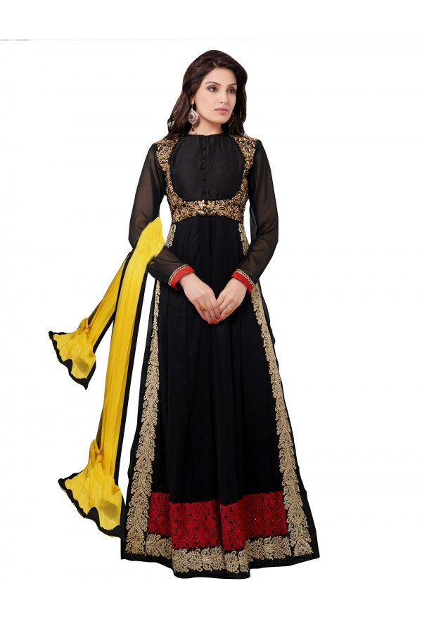 Party Wear Georgette Black Anarkali Suit - EBSFSKDF43401