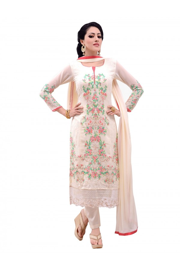 Party Wear Georgette Off White Salwar Suit - EBSFSKDF43807