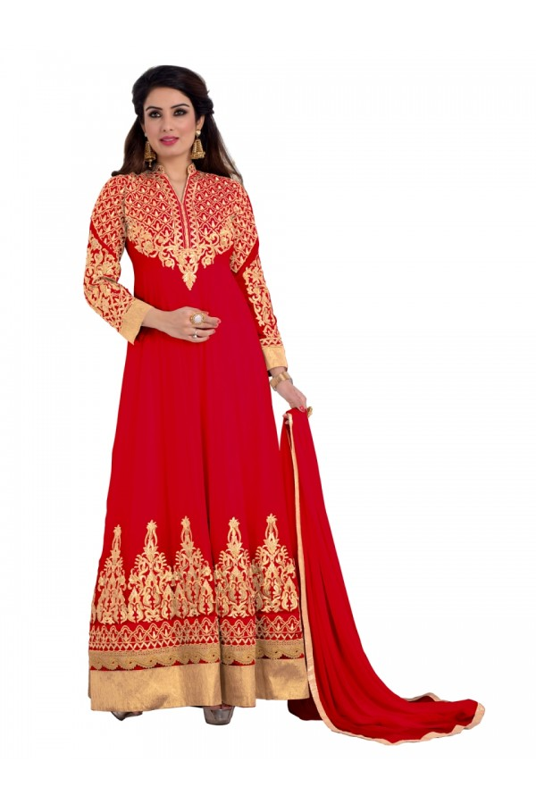 Party Wear Georgette Red Anarkali Suit - EBSFSKDF431005B