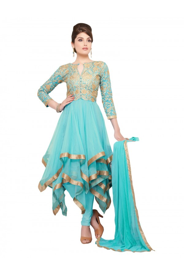 Party Wear Net Sky Blue Anarkali Suit - EBSFSKDF43407