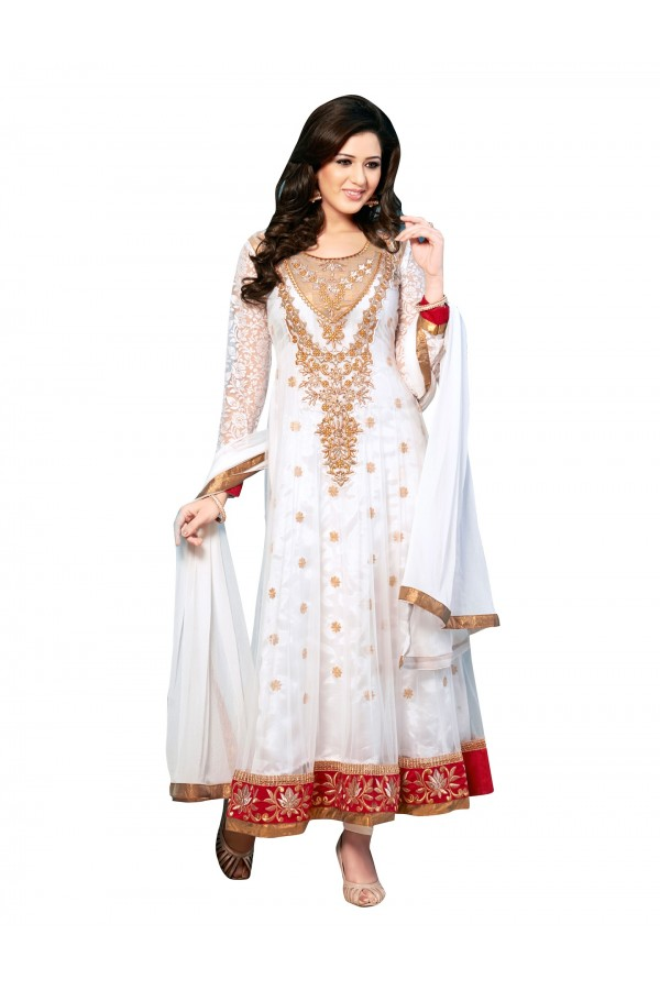 Party Wear Net White Anarkali Suit - EBSFSKDF43307