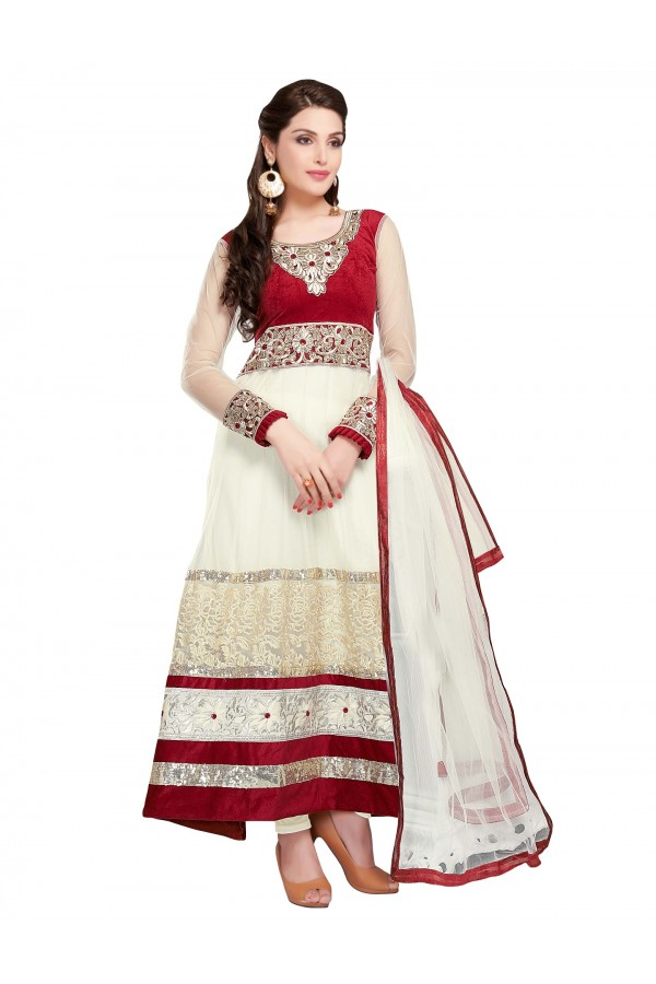 Party Wear Net White Anarkali Suit - EBSFSKDF43404