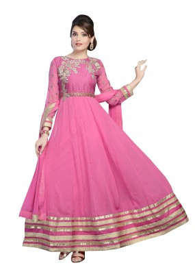 Wedding Wear Georgette Pink Anarkali Suit - EBSFSKDF43503