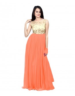 Eid Special Party Wear Peach Gown - 70507