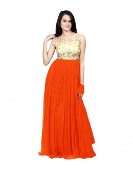 Eid Special Party Wear Orange Gown - 70517