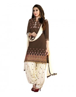 Eid Special Brown Cotton Un-Stitched Salwar Suit - EBSFSK291001I